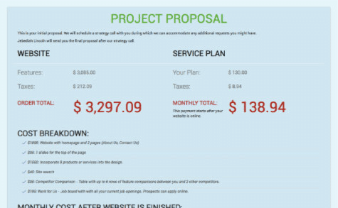 Project proposal for your new website.